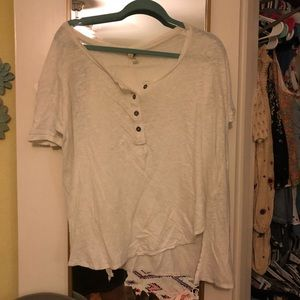 Free People White Button Tee
